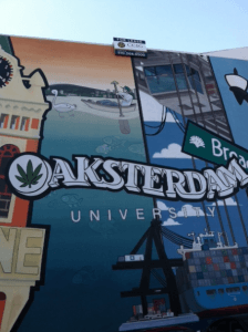 """A """"For Lease"""" sign now sits on the Oaksterdam mural on the side of the school's building."""